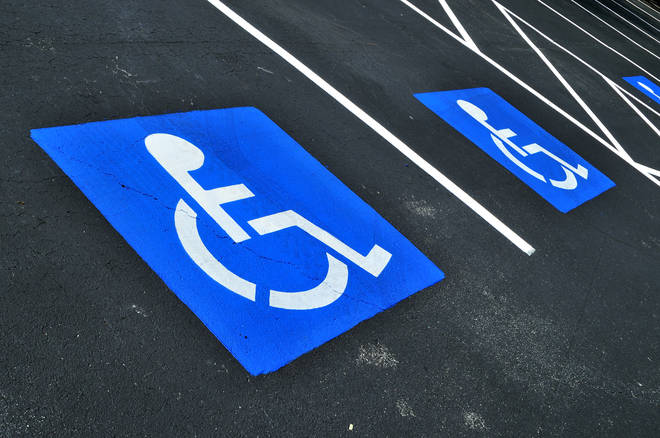 Stock image - disabled parking bay sign