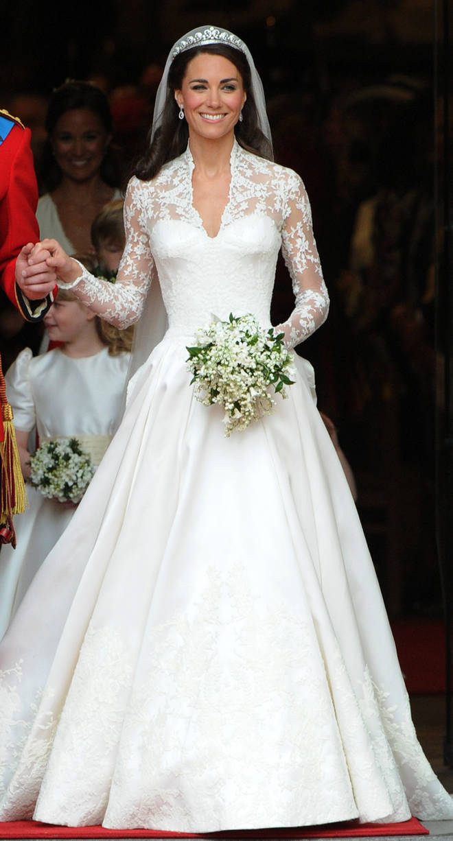Kate Middleton walks out of Westminster Abbey following her wedding to Prince William