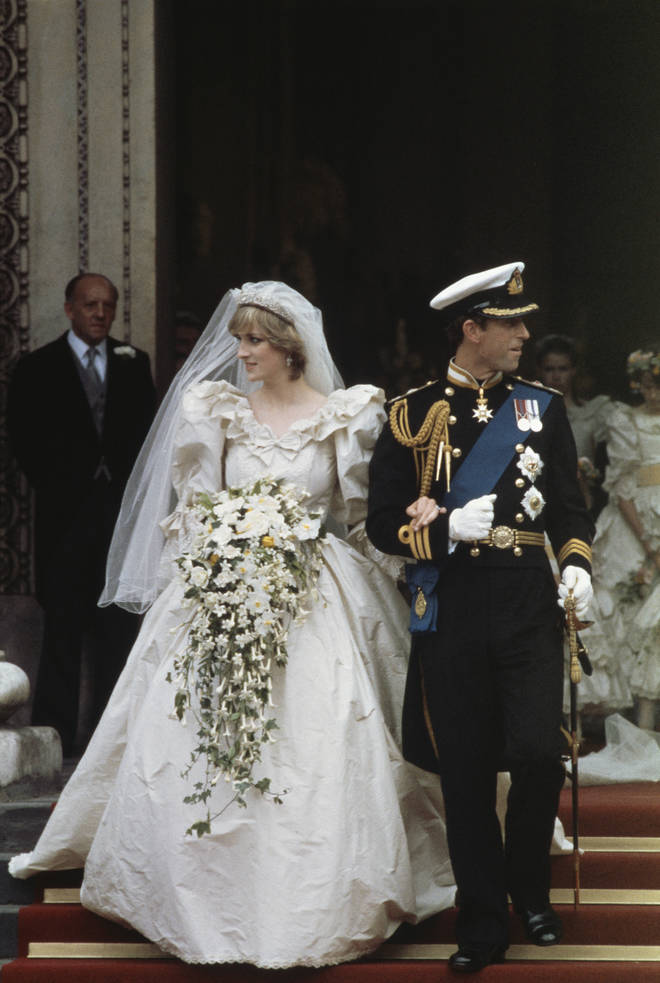 Princess Diana and Prince Charles step out of St Paul's Cathedral as man and wife