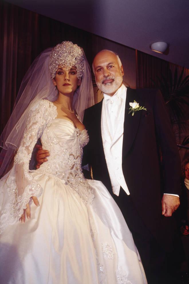 Celine Dion wears a bedazzled head-dress as she weds René Angélil