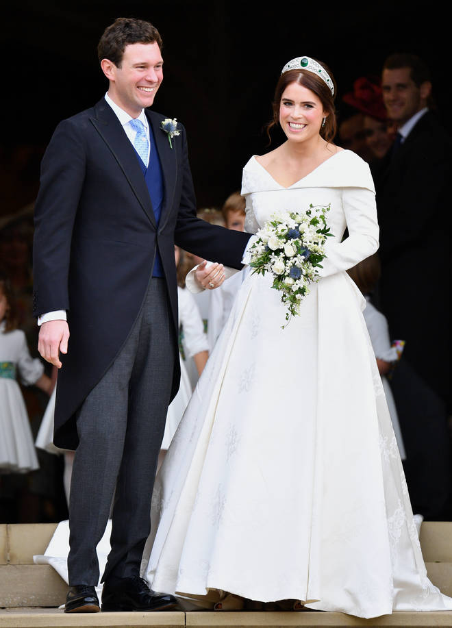 Princess Eugenie and her husband Jack Brooksbank exit St George's Chapel