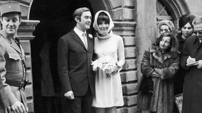 Audrey Hepburn leaves the church with husband Andrea Dotti in 1969