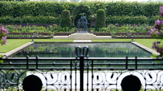 The Princess Diana statue has been placed in the Sunken Gardens at Kensington Palace