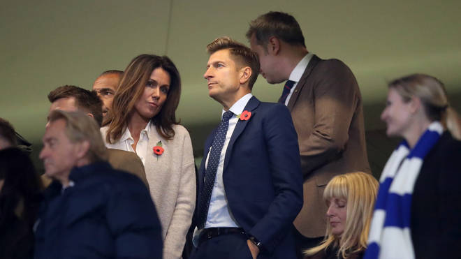 Susanna Reid and Steve Parish at Stamford Bridge