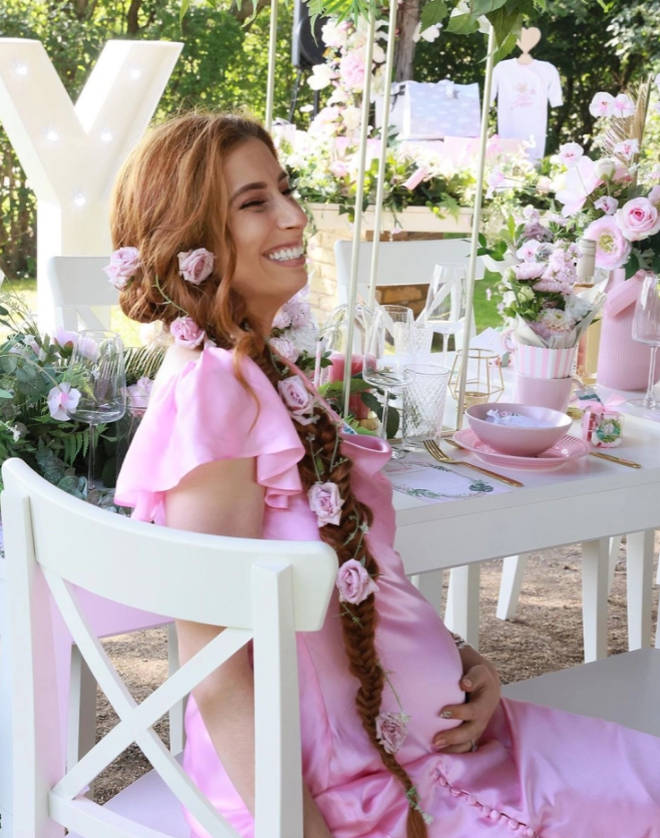 Stacey Solomon shows off her Disney-style look for the baby shower