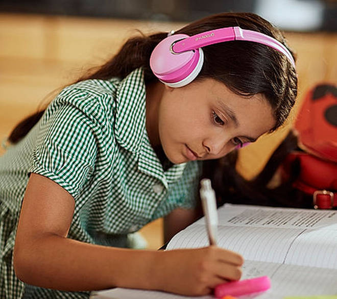 The wireless headphones are great for remote learning and watching videos on their tablets