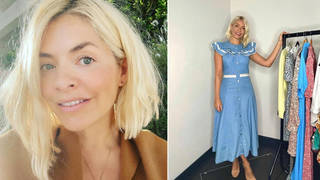 Holly Willoughby is wearing a denim dress from Warehouse