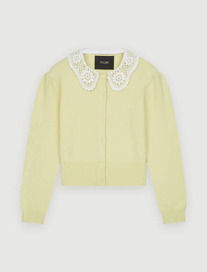 Holly is wearing a cardigan from Maje Paris