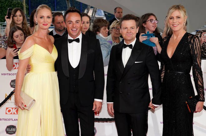 The couple also posed with Dec and Ali