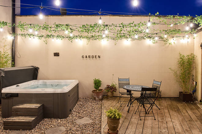 There is also a hot tub