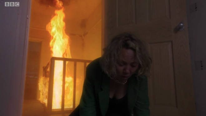 Janine was trapped in the fire in EastEnders