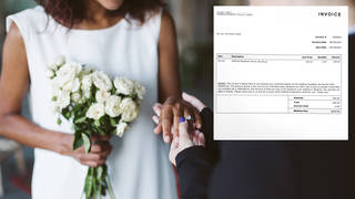 A bride has invoiced her 'no-show' guests £180