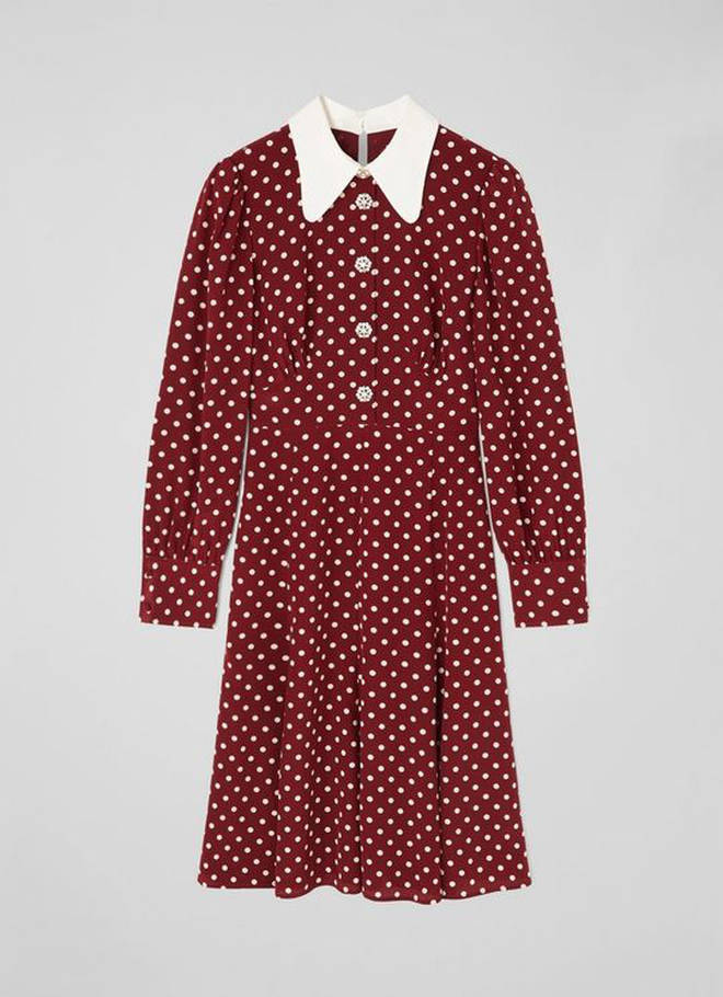 Holly Willoughby is wearing a polka dot dress from LK Bennett