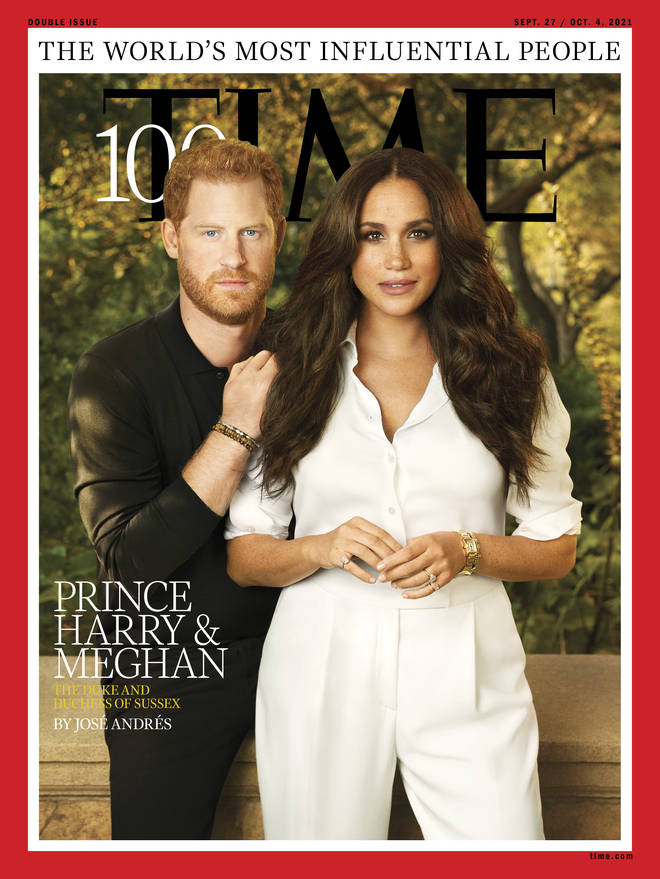 Meghan Markle is wearing Princess Diana's Cartier watch on her wrist for the cover shot