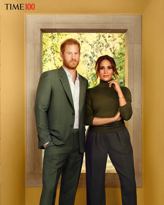 Meghan and Harry changed into matching green ensembles for another shot