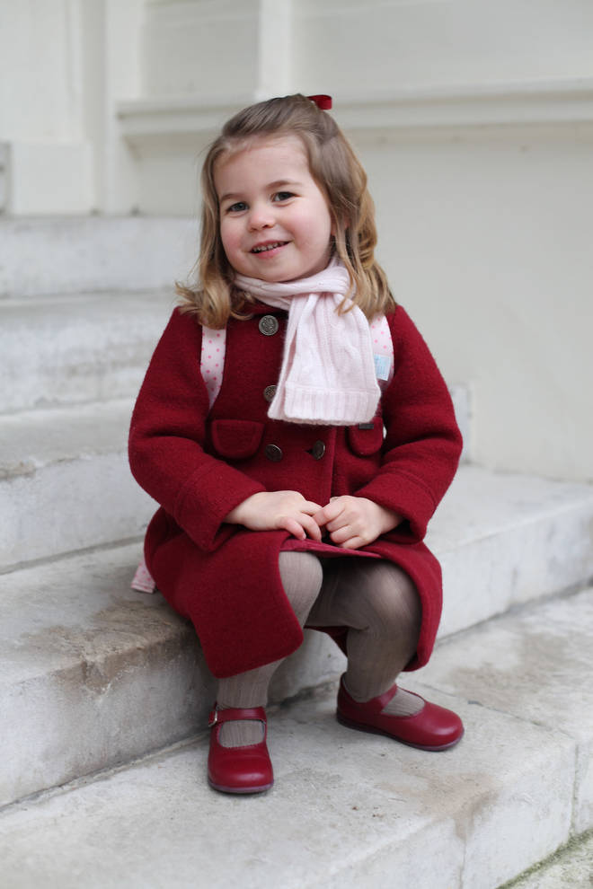 Princess Charlotte poses on her first day of nursery school