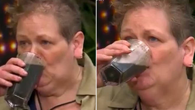 Anne Hegerty drinking liquidised fish eyes for her Bushtucker Trial