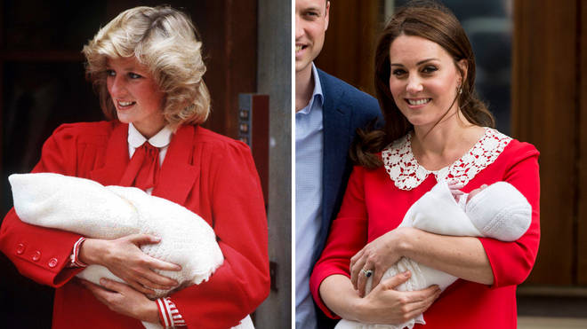Princess Diana leaves St Mary's Hospital in London after giving birth to Prince Harry in 1984 | Kate Middleton leaves the same hospital in 2018 after giving birth to Prince Louis