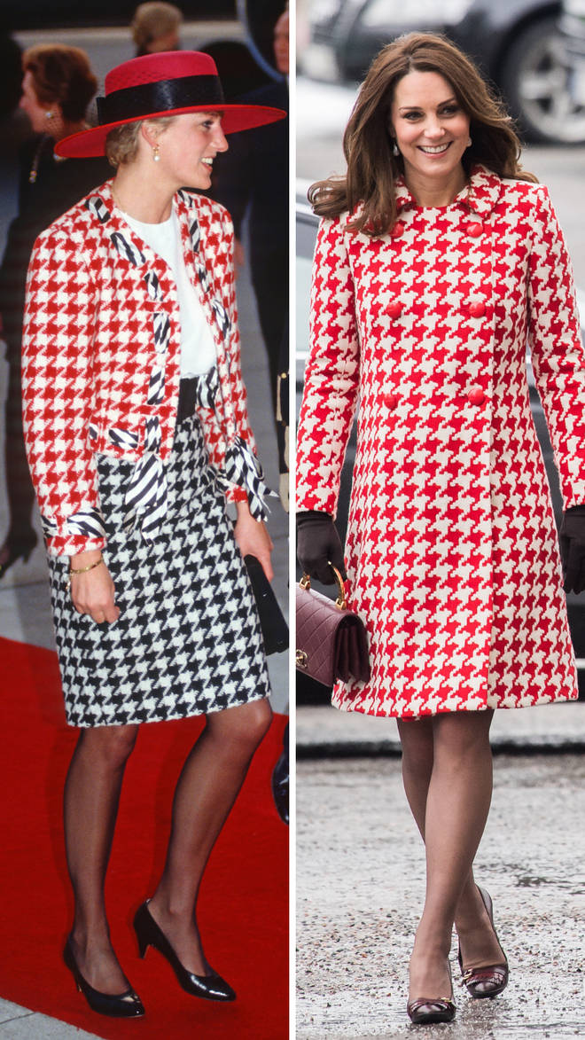 Princess Diana wears a red houndstooth jacket by Moschino during a visit to Canada in 1991 | Kate Middleton wears a similar Catherine Walker coat in 2018 while visiting Sweden