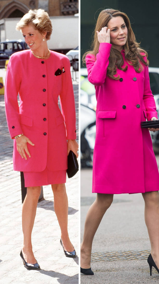 Princess Diana wears a bright pink ensemble during a visit to Westminster in 1990 | Kate Middleton sports a similar look while visiting the Stephen Lawrence Centre in London in 2015