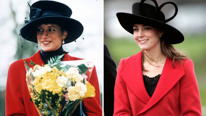 Princess Diana wears a red and black ensemble on Christmas Day in Sandringham in 1993 | Kate Middleton attends the Sovereign's Parade At The Royal Military Academy in 2006
