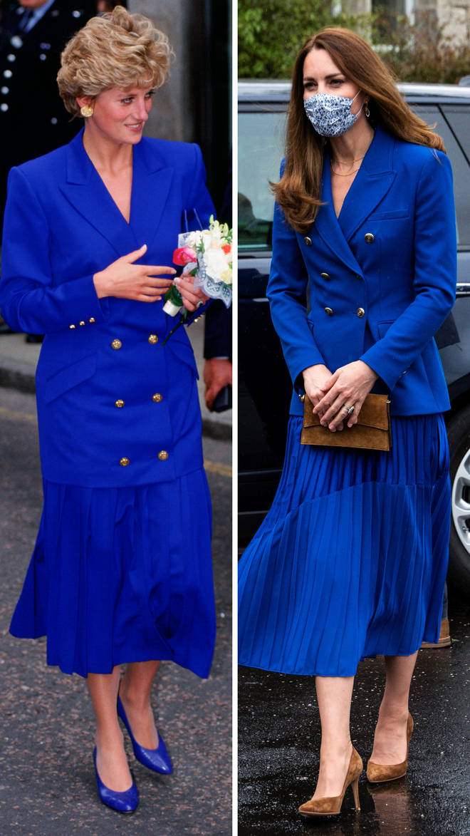Princess Diana wears a cobalt blue skirt and jacket combo in 1992 | Kate Middleton wears a very similar look during an appearance in Scotland in 2021