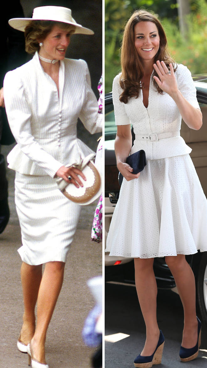 Princess Diana looks stunning in a white peplum suit for Royal Ascot in June 1986 | Kate Middleton recreated the look on a royal tour of Singapore in 2012