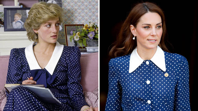 Princess Diana wears a blue and white polka dot dress with a Peter Pan collar in 1985 for a photo call at Kensington Palace | Kate Middleton wears an updated version of the same dress in 2019