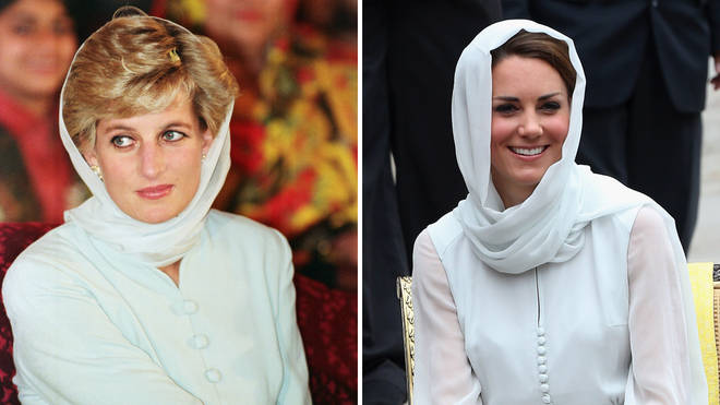 Princess Diana wears a silk headscarf at the Shaukat Khanum Memorial Hospital in Pakistan in 1996 | Kate Middleton recreates the look for a visit to Assyakirin Mosque in Malaysia in 2012