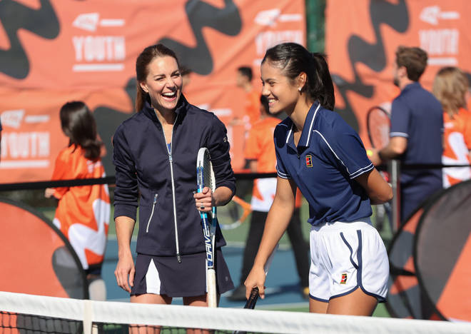 The pair were all smiles during the friendly game
