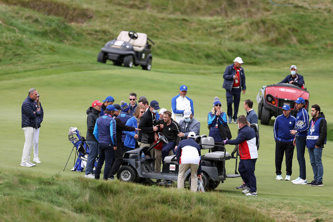 Tom Felton was stretchered off the golf course by medical professionals