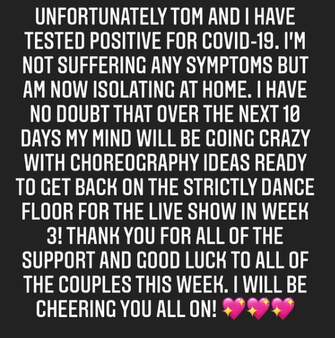 Amy Dowden shared a message on her Instagram account