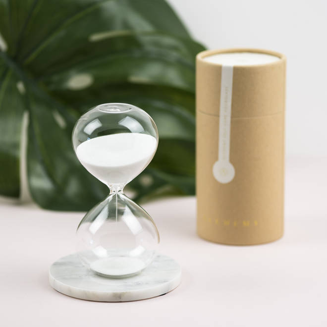 This beautiful hourglass counts down 15 minutes