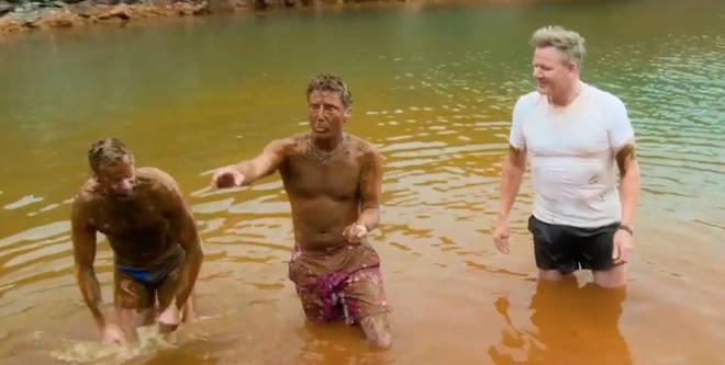 Gordon, Gino and Fred enjoyed a mud bath in Santorini