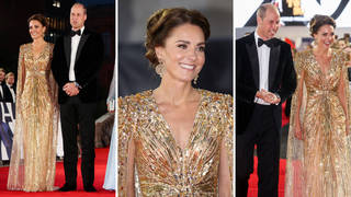Kate Middleton looks stunning in this golden gown for the premiere of No Time To Die