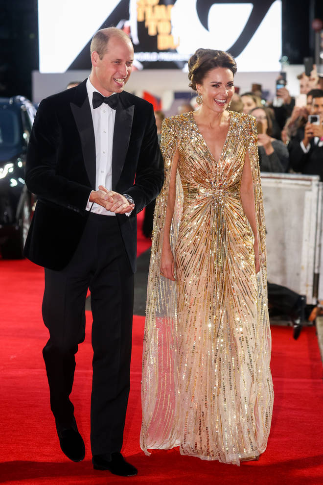 Kate Middleton and Prince William looked in good spirits as they arrived at the premiere at the Royal Albert Hall