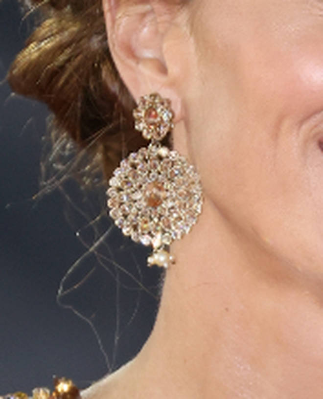 Kate Middleton re-wore a pair of bespoke crystal and pearl disc earrings by O'Nitaa Catherine