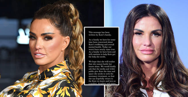 Katie Price's family issued a statement on Instagram