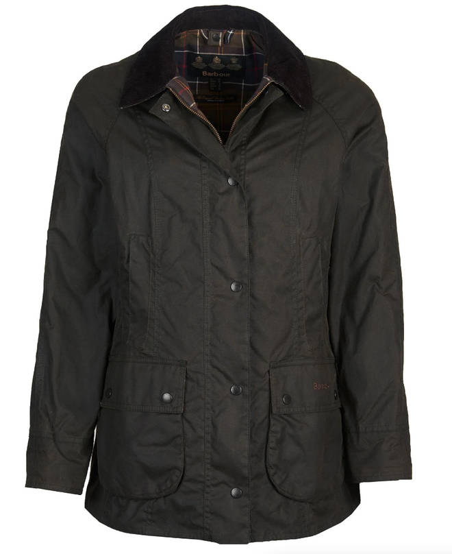 Holly finished her look off with the Barbour Classic Beadnell Wax Jacket