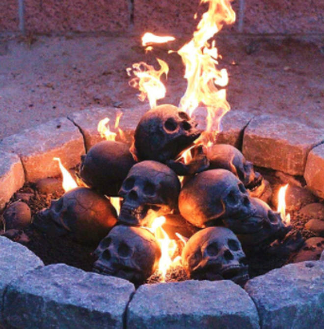 If you purchase the hollow skulls, you'll get the effect of flames coming out of the mouth and eye sockets