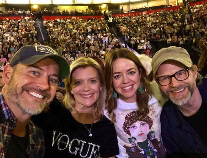 Georgia Taylor and her husband Mark Letheren with their acting friends