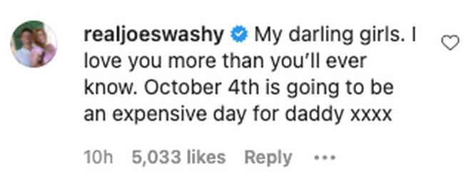 Joe Swash commented on Stacey Solomon's Instagram post