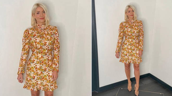 Holly Willoughby is wearing a dress from Sandro Paris
