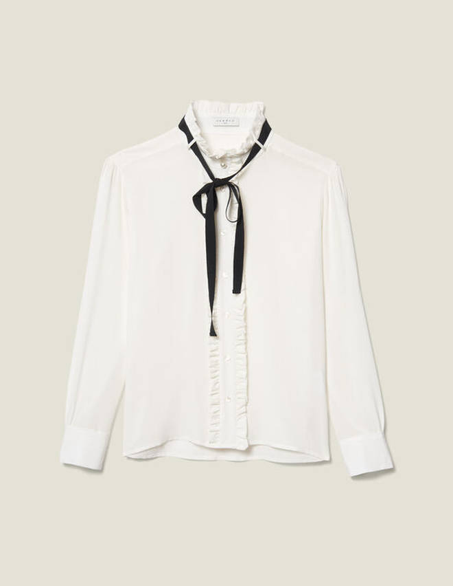 Holly Willoughby is wearing a blouse from Sandro Paris