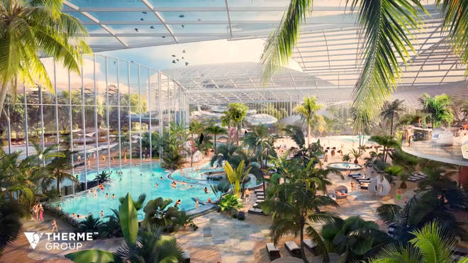 The waterpark will resemble a tropical paradise, complete with 1,500 palm trees