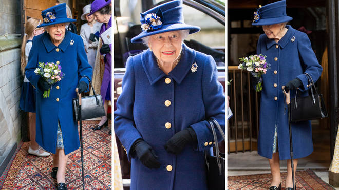 The Queen looked regal in a blue ensemble for the royal engagement