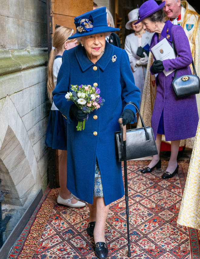 The Queen used a walking stick during the event at Westminster Abbey