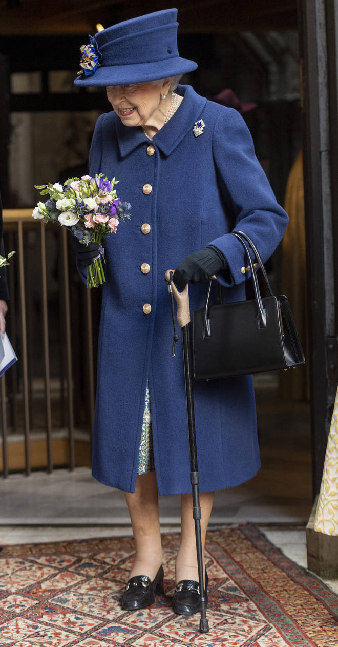 The Queen hasn't been seen using a cane in public since 2003