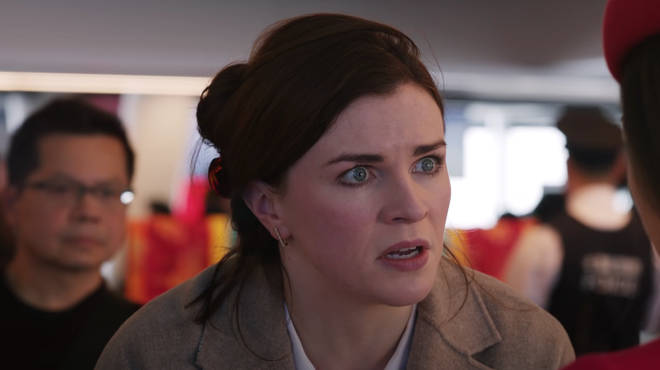 Aisling Bea plays Max's mother, Carol, who is desperately trying to get back to her son