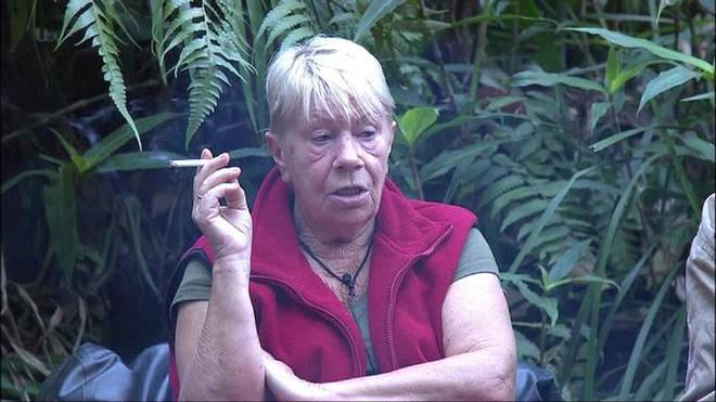 Laila Morse smoking on I'm A Celeb